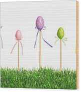 Easter Eggs In Grass Wood Print