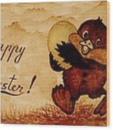 Easter Golden Egg Coffee Painting Wood Print