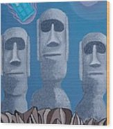 Easter Island Revisited Wood Print by Anthony Morris