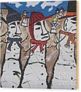 Easter Island Snow Men Wood Print