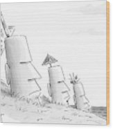 Easter Island Statues Have Straws And Umbrellas Wood Print
