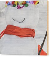 Easter Snowman Wood Print