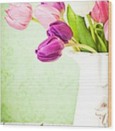 Easter Tulips And Copy Space Wood Print