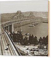 Eastern Span Of San Francisco-  Oakland Bay Bridge Circa 1937 Wood Print