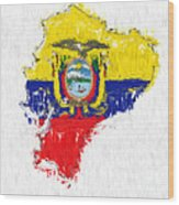 Ecuador Painted Flag Map Wood Print