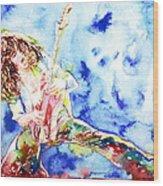 Eddie Van Halen Playing The Guitar.1 Watercolor Portrait Wood Print