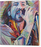 Eddie Vedder In Pink And Blue Wood Print by Joshua Morton