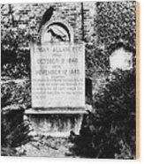 Edgar Allen Poe Grave Site Baltimore Wood Print