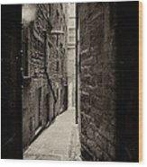 Edinburgh Alley Sepia Wood Print