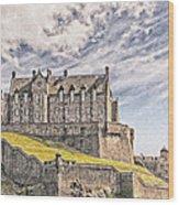 Edinburgh Castle Painting Wood Print