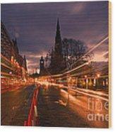 Edinburgh Dawn Fire In The Sky Wood Print