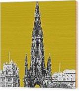 Edinburgh Skyline Scott Monument - Gold Wood Print
