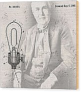 Edison And Electric Lamp Patent Wood Print