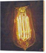 Edison Bulb Wood Print by Ann Moeller Steverson