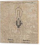 Edison Electric Lamp Patent Marble Wood Print