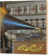Edison Home Phonograph With Morning Glory Horn Wood Print by Christine Till