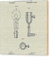 Edison Lamp 1882 Patent Art Wood Print by Prior Art Design