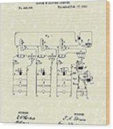 Edison Lighting System 1891 Patent Art Wood Print by Prior Art Design
