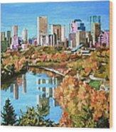 Edmonton In Fall Wood Print