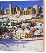 Edmonton In Winter Wood Print