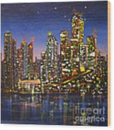 Edmonton Night Lights Wood Print