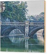 Edo Castle And Nijubashi Bridge Wood Print