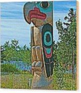 Edward Smarch Totem Pole At Teslin Tlingit Heritage Memorial Center In Teslin-yt Wood Print