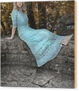 Edwardian Girl On A Stone Wall Wood Print