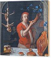 Een Bakker Die Zijn Hoorn Blaast Wood Print