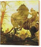 Eerie Horseman Wood Print