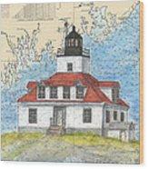 Egg Rock Lighthouse Me Nautical Chart Map Art Wood Print