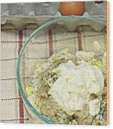 Egg Salad Ingredients Wood Print