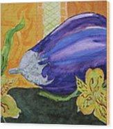 Eggplant And Alstroemeria Wood Print