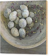 Eggs In A Wooden Bowl Wood Print