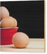 Eggs On Bench Wood Print