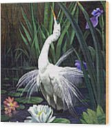 Egret And The Butterfly Wood Print