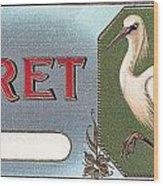 Egret Cigar Label Wood Print
