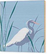 abstract Egret graphic pop art nouveau 1980s stylized retro tropical florida bird print blue gray  Wood Print