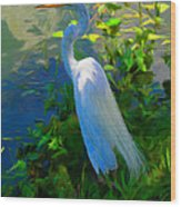 Egret In Blue Wood Print