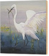 Egret In The Marsh Wood Print