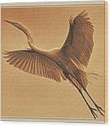 Egret Sepia Wood Print