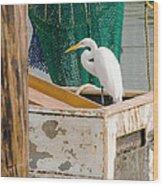 Egret With Fishing Net Wood Print