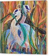Egrets In Red 2            Wood Print