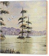Egrets Over Wakulla Springs Wood Print