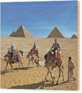 Egypt, Cairo, Giza, Tourists Ride Wood Print
