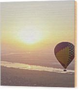Egypt, View Of Hot Air Balloon Over Wood Print