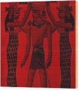 Pharaoh Atem Red Wood Print