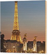 Eiffel At Twilight Wood Print