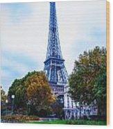 Eiffel In Autumn Wood Print