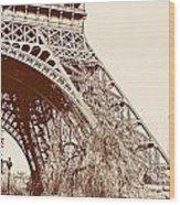 Eiffel In Sepia Wood Print